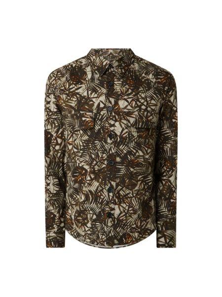 Beżowa koszula bawełniana z długimi rękawami Drykorn
