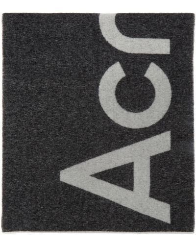 Wełniany czarny szalik z logo prostokątny Acne Studios