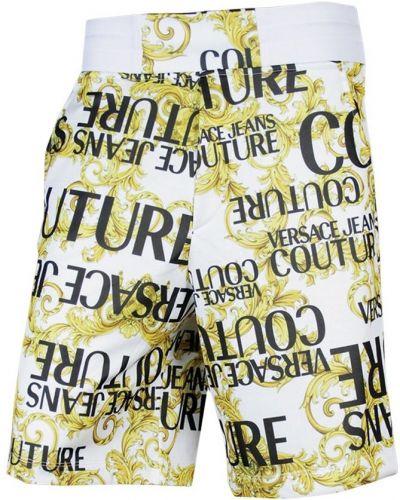 Białe bermudy z printem Versace Jeans Couture