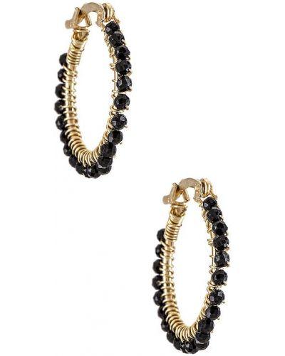 Czarne złote kolczyki sztyfty Mercedes Salazar