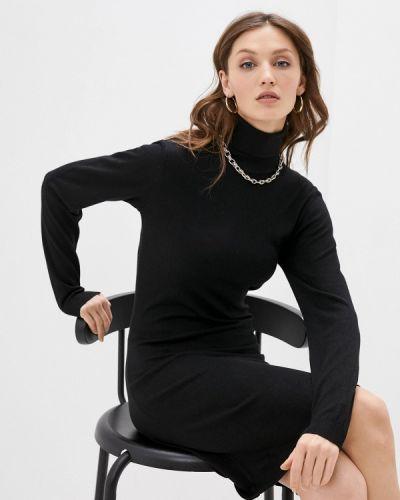 Вязаное трикотажное черное платье William De Faye