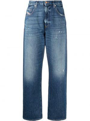 Niebieski szeroki jeansy z łatami z kieszeniami Diesel
