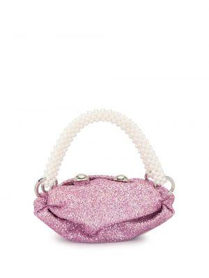 Розовая сумка-тоут круглая из вискозы 0711