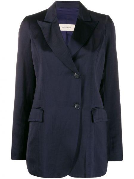 Сатиновый синий удлиненный пиджак с карманами Gentry Portofino