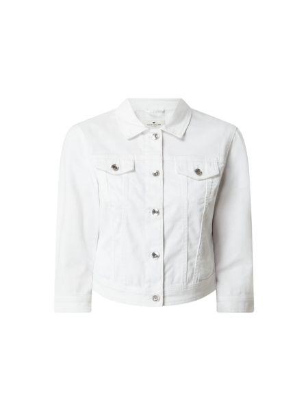 Biała kurtka jeansowa bawełniana Tom Tailor