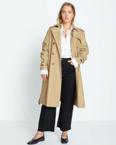 Бежевое пальто с воротником на пуговицах с лацканами Mango