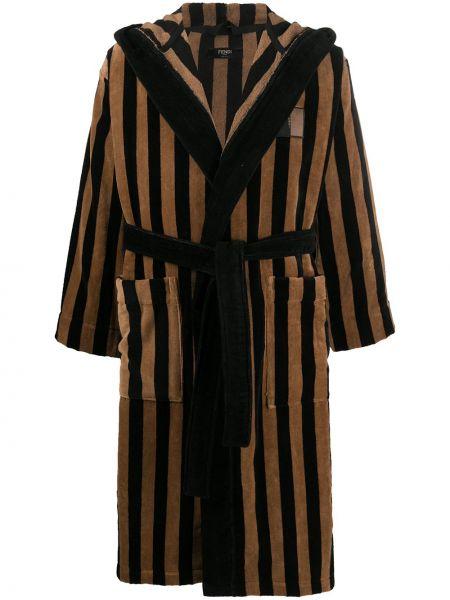 Czarny szlafrok bawełniany z kapturem Fendi