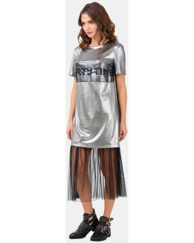 Вечернее платье осеннее серебряный Ricamare