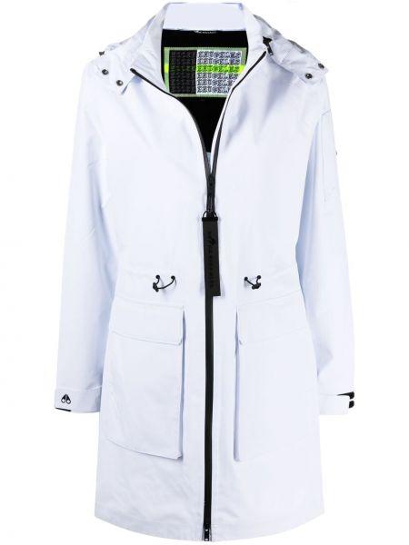Белое пальто классическое с капюшоном на молнии Moose Knuckles