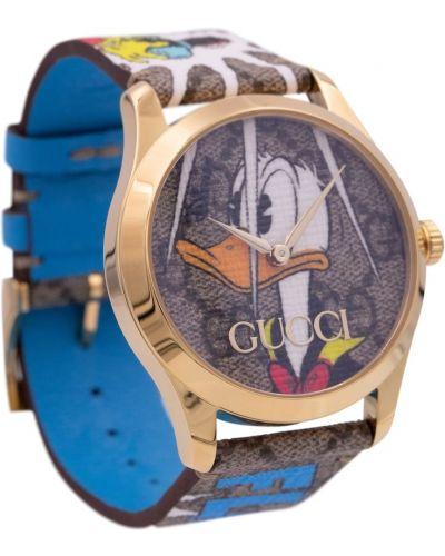 Srebro skórzany zegarek Gucci