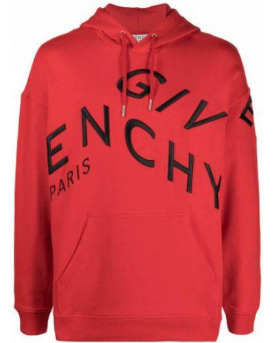 Czerwona bluza z kapturem z haftem Givenchy