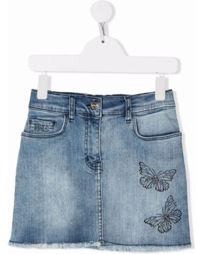 Spódnica jeansowa z paskiem - niebieska Monnalisa