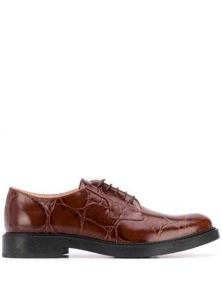 Кожаные коричневые оксфорды на каблуке Tods