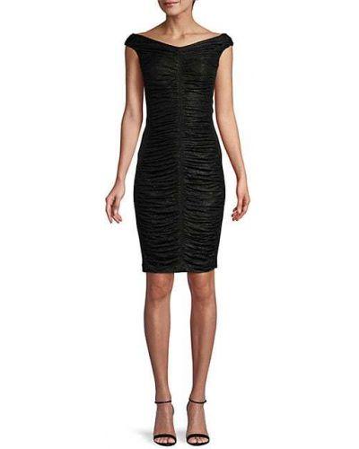 Черное платье-футляр с подкладкой с оборками Calvin Klein