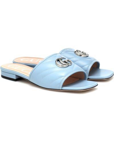 Niebieskie klapki skorzane Gucci