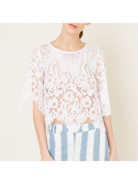 Белая нейлоновая блузка свободного кроя с вырезом Valerie Khalfon