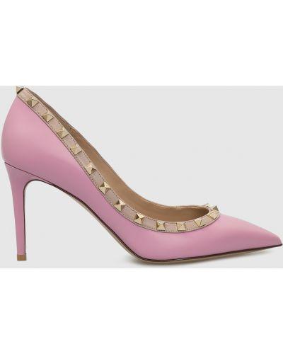 Фиолетовые кожаные туфли-лодочки Valentino