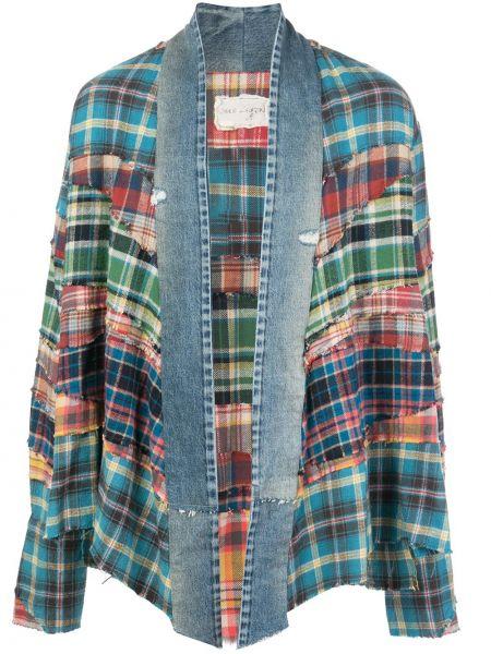Niebieskie jeansy bawełniane z printem Greg Lauren