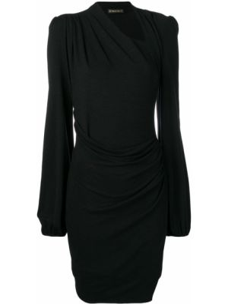 Приталенное драповое платье мини с запахом Plein Sud