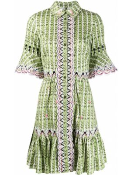 Платье мини с вышивкой на пуговицах с воротником с вырезом Temperley London