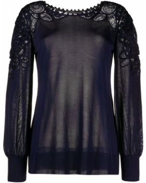 Черный ажурный длинный свитер с вырезом Alberta Ferretti