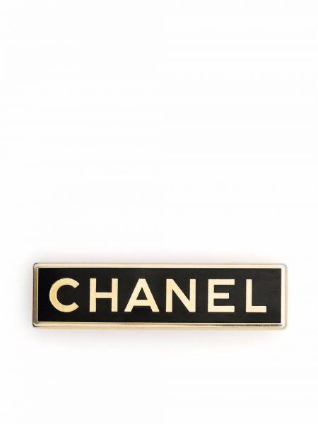 Czarna złota broszka Chanel Pre-owned