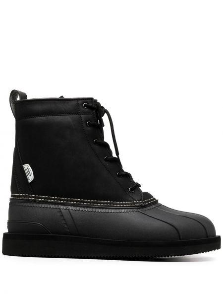 Skórzany czarny buty obcasy zasznurować okrągły nos Suicoke