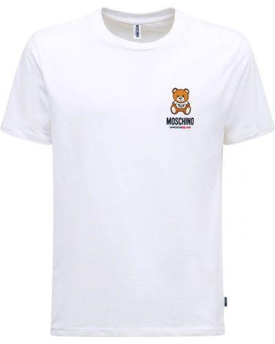 Белая хлопковая футболка Moschino Underwear