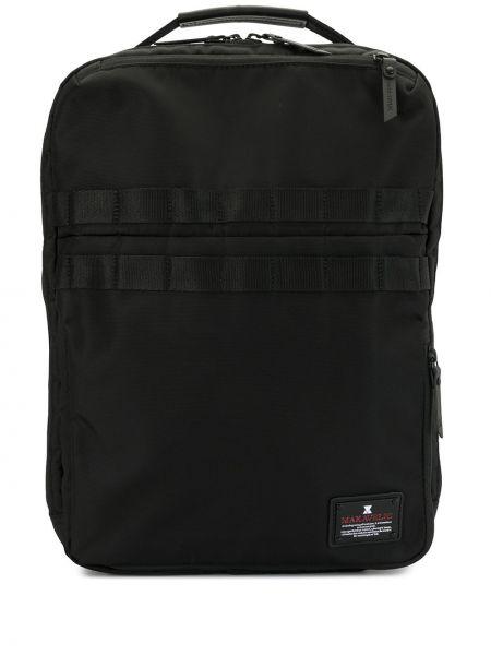 Нейлоновый черный рюкзак на молнии с нашивками Makavelic
