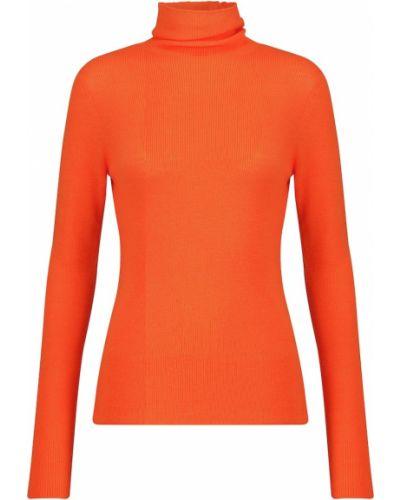 Pomarańczowy sweter wełniany Ganni