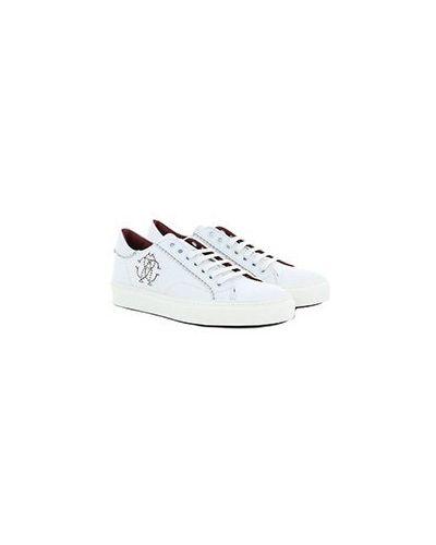 Кожаные белые кеды Roberto Cavalli