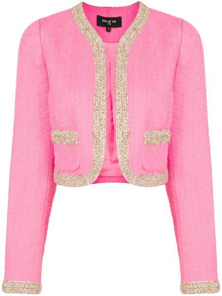 Розовая длинная куртка с опушкой твидовая с карманами Paule Ka