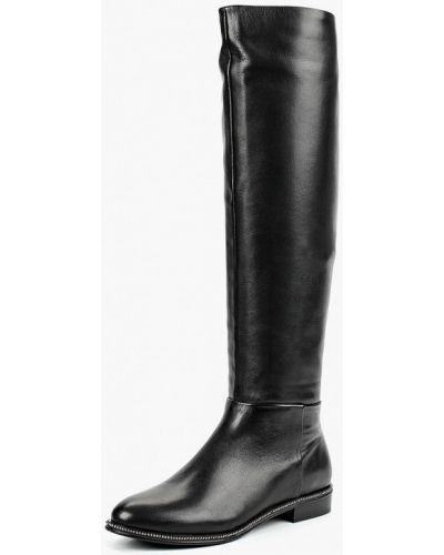 Черные кожаные ботфорты Just Couture