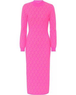 Платье миди вязаное жаккардовое Fendi