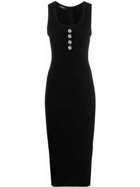 Prążkowana czarna sukienka midi z wiskozy Balmain