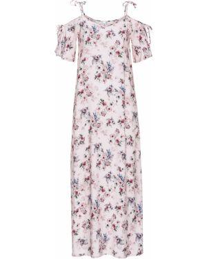 Летнее платье розовое с цветочным принтом Bonprix