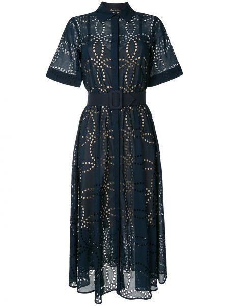 Синее платье мини с вышивкой с поясом Oscar De La Renta