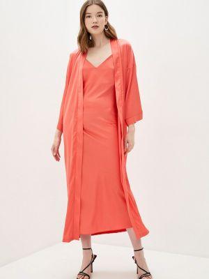 Костюмный розовый вязаный юбочный костюм Theone By Svetlana Ermak