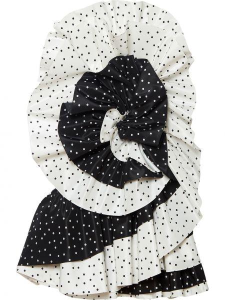 Шелковое черное платье мини в горошек Carolina Herrera