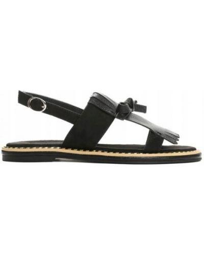 Czarne sandały skorzane z frędzlami Vices