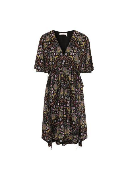Платье мини с V-образным вырезом со складками Chloé
