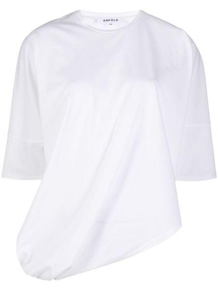 Biały jedwab bawełna asymetryczny koszula z krótkim rękawem Enfold