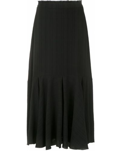 Черная юбка миди со складками в рубчик Magrella