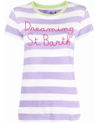 Розовая прямая футболка в полоску Mc2 Saint Barth
