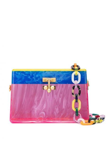 Акриловая золотистая розовая маленькая сумка прозрачная Edie Parker