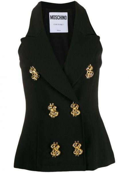 Черная классическая приталенная жилетка с лацканами Moschino