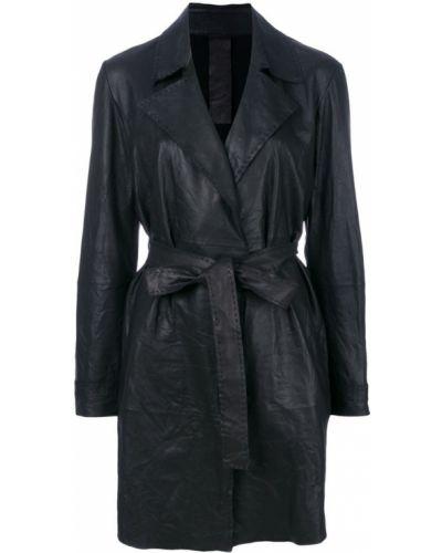 Кожаное пальто с поясом пальто Vanderwilt