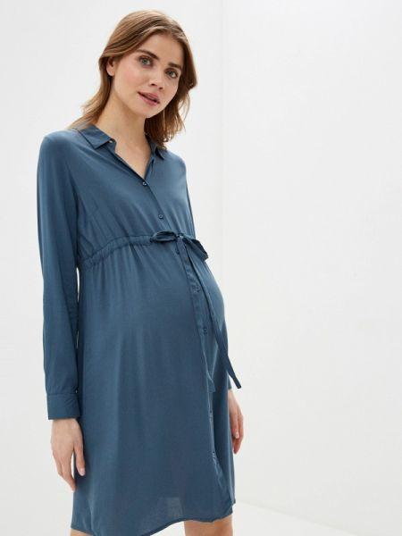 Платье для беременных платье-рубашка синее Mama.licious