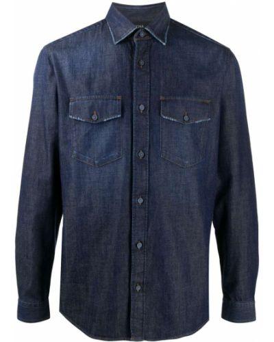 Прямая синяя юбка макси с карманами на пуговицах Z Zegna