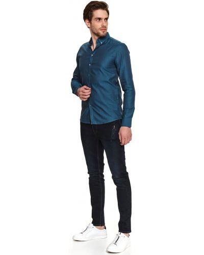 Koszula bawełniana z długimi rękawami turkusowa Top Secret